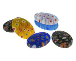 10 Glass Beads Millefiori Oval Mixed Bead 25mm