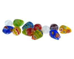 20 Glass Beads Millefiori Teardrop Mixed Bead 11mm