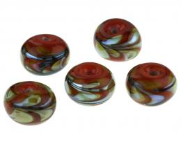 1 Handmade Lampwork Glass Beads Coral Brights 18mm