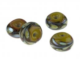 1 Handmade Ochre Bright Lampwork Beads 11mm x 18mm