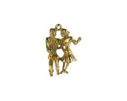 1 Vintage Metal Charms Gold Plated Jive Couple 25mm