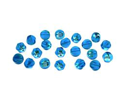 20 Czech Glass Beads Aqua Pressed Melons AB 6mm