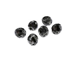 5 Czech Glass Beads Black Silver Fire Polish 10mm