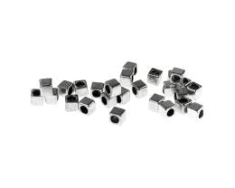20 Metal Beads Silver Spacer Cube Bead 3.5mm