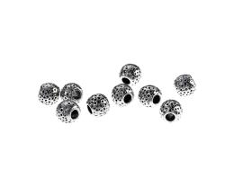 10 Metal Beads Silver Dimpled Spacer Bead 6mm
