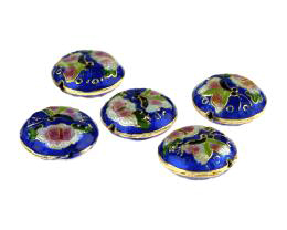 1 Metal Beads Cloisonne Butterfly On Blue 18.5mm