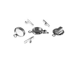 1 Box Clasps Silver Plated Cabochon Clasp 17mm