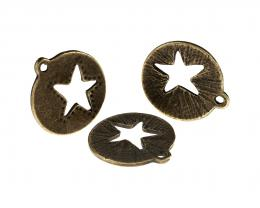 1 Bronze Charms Star Charm Open Cast Disc 22mm