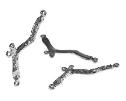 1 Branch Connectors Satin Silver Charms 40mm