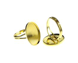 1 Adjustable Ring Blanks Brass Cabochon Rings 19mm