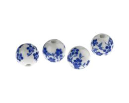 1 Porcelain Beads Blue Flower Pattern White Beads 12mm