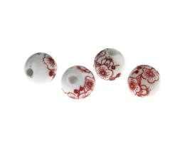 1 Porcelain Beads Red Flower Pattern White Beads 12mm