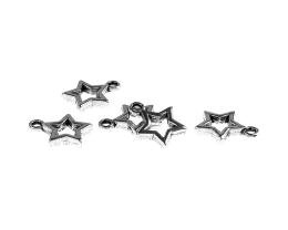 1 Metal Charms Antique Silver Star Charms 15mm