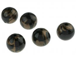 5 Black Gold Flourish Acrylic Beads 16mm