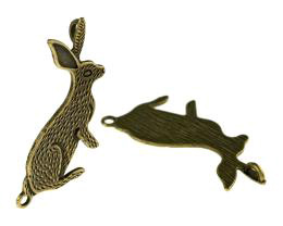 1 Jewellery Connectors Bronze Rabbit Charms 42mm