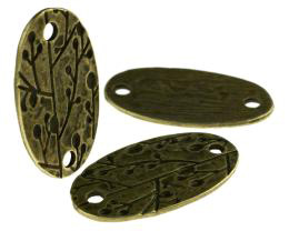 1 Disc Connectors Bronze Leaves Oval Discs 38mm