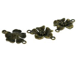 1 Jewellery Connectors Bronze Flowers 27mm
