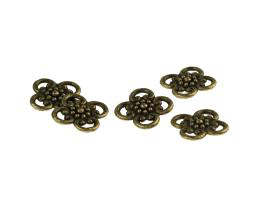 5 Jewellery Connectors Bronze Flowers 13mm