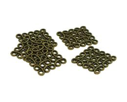 5 Connector Charms Bronze Filigree Squares 15mm
