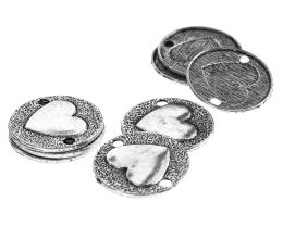 1 Disc Connectors Antique Silver Heart Coin 22.5mm