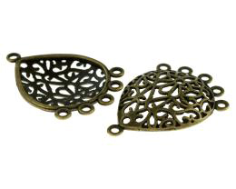 2 Chandelier Earring Findings Bronze Filigree 36mm