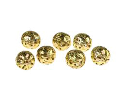 10 Vintage Metal Beads Gold Plated Filigree 10.5mm