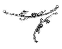 1 Branch Connectors Antique Silver Birds 60mm