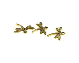 1 Metal Charms Antique Gold Dragonfly Charms 14mm