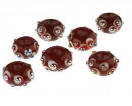 7 Handmade Lampwork Glass Beads Ruby Red Dots 11mm
