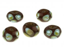 5 Handmade Lampwork Glass Beads Chocolate Blue