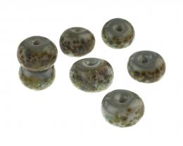 7 Handmade Lampwork Glass Beads Slate Pebbles