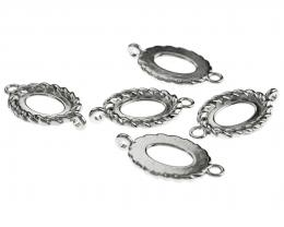 5 Cabochon Connectors Silver Ovals Settings 26mm