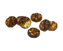 5 Czech Glass Beads Picasso Flower Coin Bead 12mm