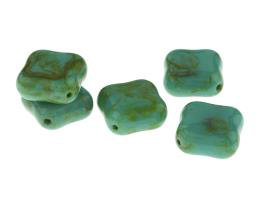 1 Czech Glass Beads Mottled Turquoise Square 18mm