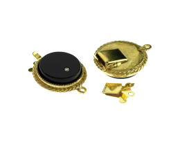 1 Vintage Box Clasps Brass Black Glass Clasp 25mm