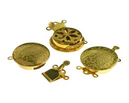 1 Vintage Box Clasps Solid Brass 3 Strand 24mm