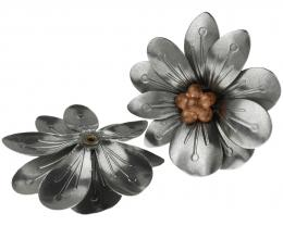 1 Vintage Flower Embellishments Silver Brass 36mm