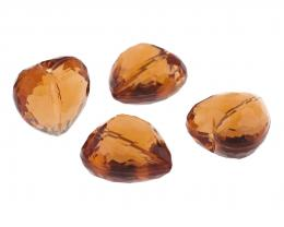 1 Vintage Plastic Beads Topaz Faceted Heart 18mm