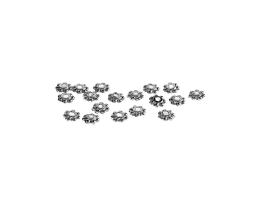 25 Metal Beads Silver Plated Daisy Bead 4mm