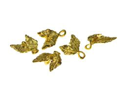 5 Jewellery Connectors Gold Leaf Charms 15.5mm