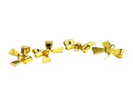 5 Metal Charms Gold Ribbon Bow Charms 11mm