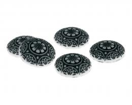 1 Acrylic Cabochons White Black Print Round 18.5mm