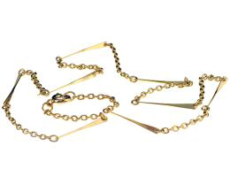 1 Vintage Necklace Chains Gold Plated Bar 45cm