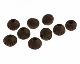 4 Vintage Wooden Beads Hand Carved Rounds 8.5mm