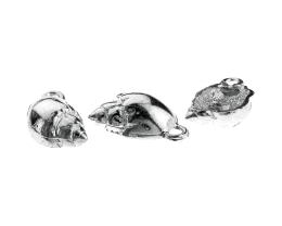 1 Vintage Metal Charms Silver Plated Shell Charms 24mm