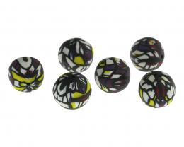1 Handmade Polymer Clay Stained Beads Glass 13mm