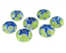 7 Handmade Lampwork Glass Beads Larkspur Blue