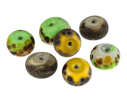 7 Handmade Lampwork Glass Beads Stone Washed