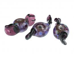 1 Handmade Lampwork Glass Beads Purple Sweet Twist