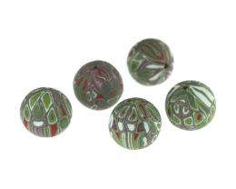1 Handmade Polymer Clay Beads Olive Patchwork 13mm